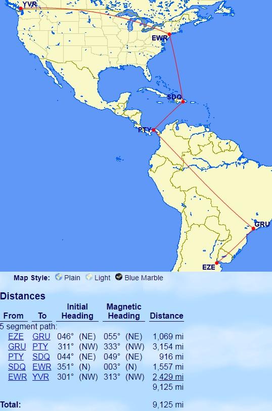 Aeroplan Mini-RTW in South America