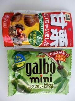chestnuts (kuri) and green tea chocolates (macha-choco)