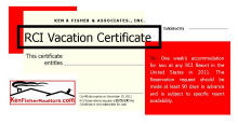 RCI Vacation Certificate