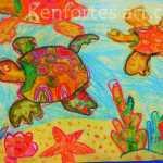 Rishi-kenfortes crayon art- sea turtle finding nemo