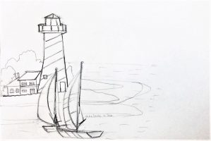 kenfortes-art-class-pencil-sketch-SAIL-BOAT-NEAR-LIGHT-HOUSE-4