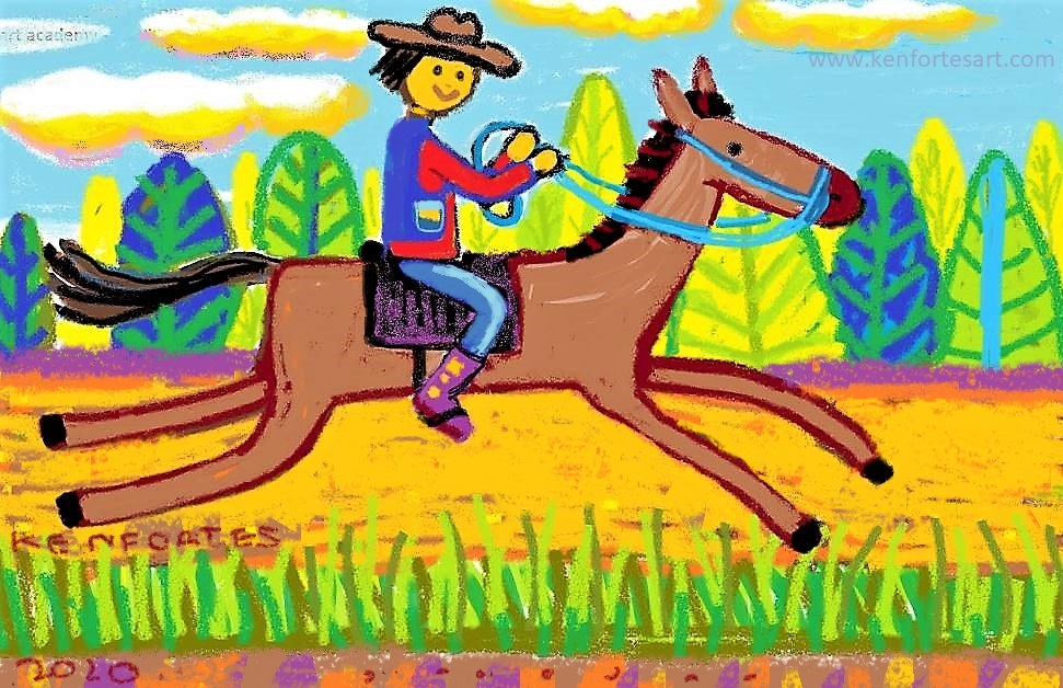 COW BOY RIDING HORSE - children online arts classes India - kids crayon drawing
