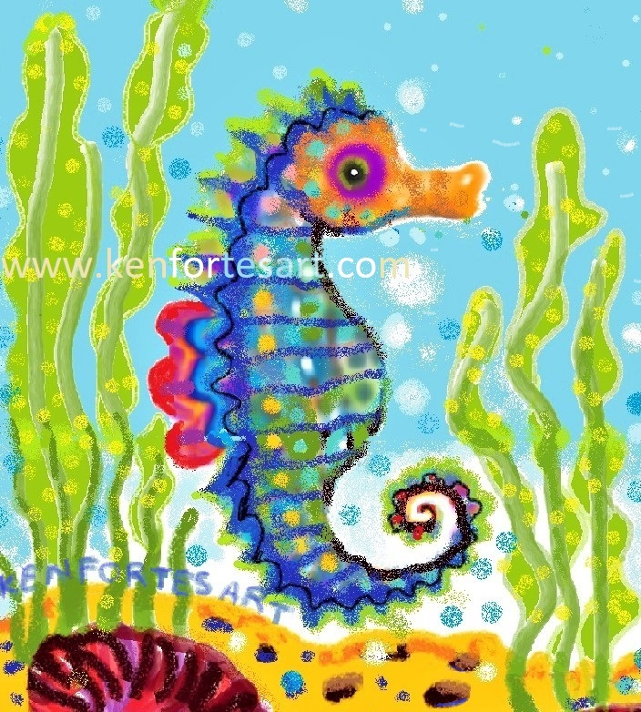 seahorse- crayon and digital MS PAINT spray - kenfortes children online art classes India - pencils and paint free art lessons courses