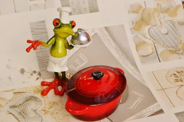 兼業主婦子が思う食材宅配のメリット・デメリット カエルが食材を持って喜んでいる画像