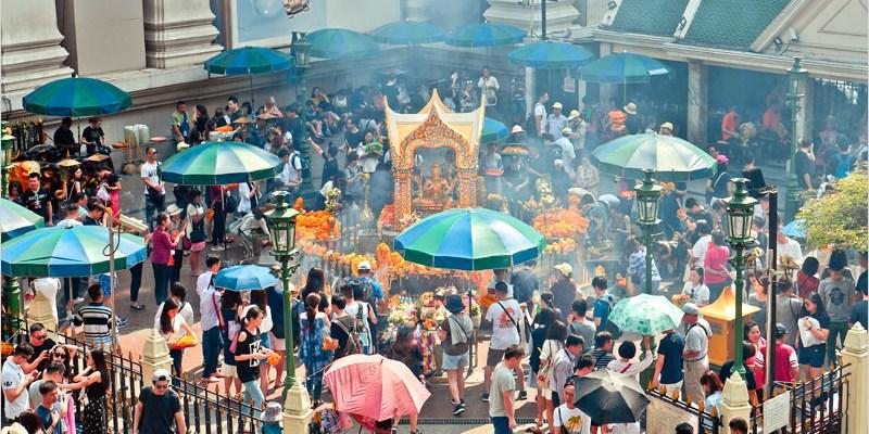 泰國曼谷必去景點   四面佛(BTS Chit Lom站)參拜須知及拍攝全景最佳位置。