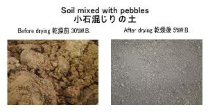 小石混じりの土 乾燥 土壌改良剤乾燥 kenki dryer リサイクル乾燥 2018.3.21