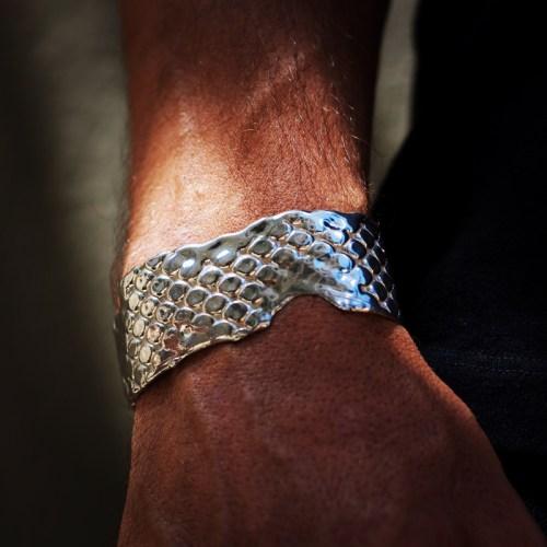 Sterling silver Marali cuff, 1 inch wide, reptile texture
