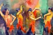 Flamenco dancer in various positions