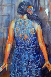 Flamenco spirit, painting woman dancer from back view