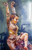 watercolour painting flamenco duendi,