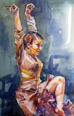 watercolour painting flamenco duendi,
