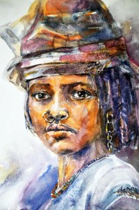 painting of portraiture of African woman-dignity in hardship
