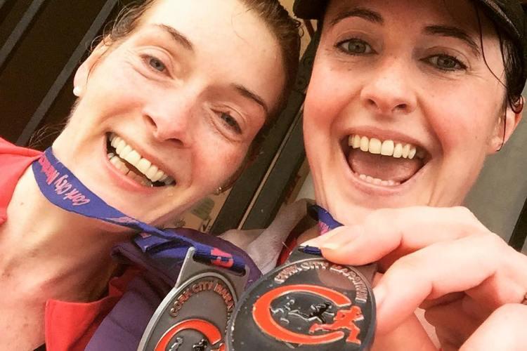 Excitement after finishing Cork City Marathon!