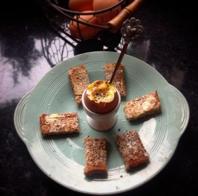 Drippy boiled eggs with wholemeal soldiers.