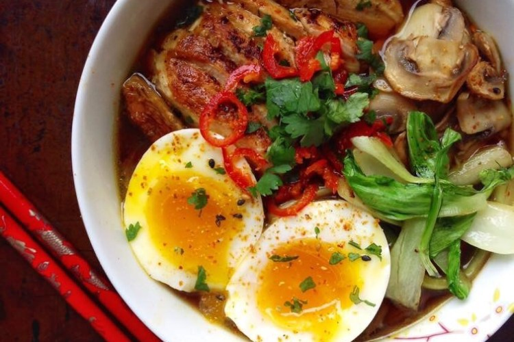 Easy Ramen with Chicken Pak Choi and a soft Boiled Egg