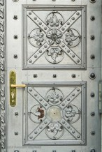 Metal door with X symbol