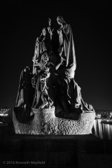 Statues of Saints Cyril and Methodius at night