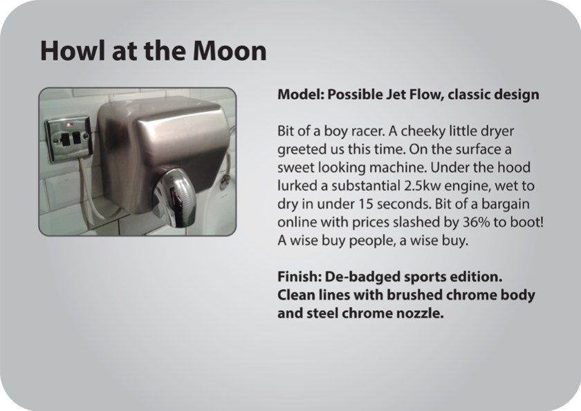 Howl at the Moon gents hand dryer review