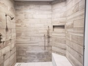 Luxury Tile Showers with Linear Drain, Plank Tile Shower Walls