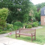 Bench, lawn and flower bed