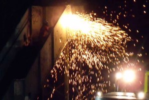 Dramatic sparks from cutting equipment
