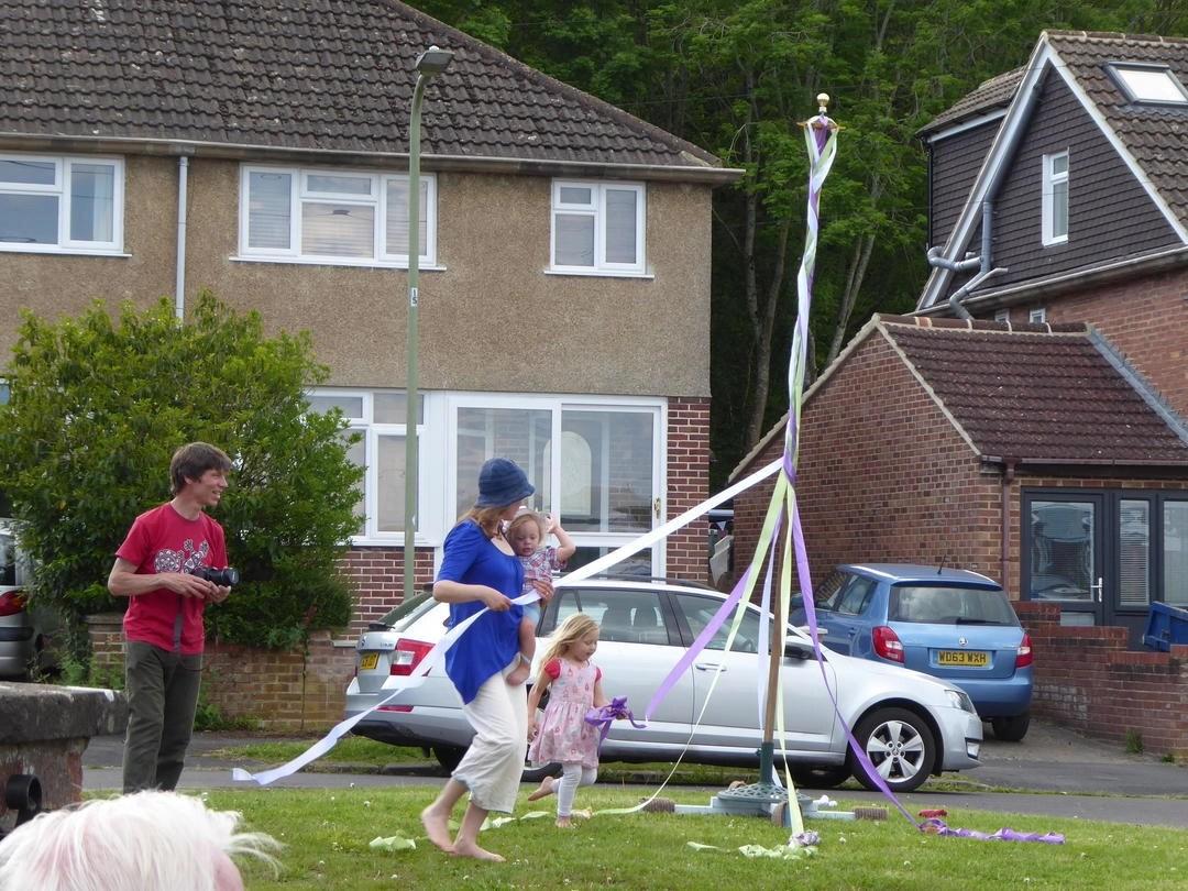 Maypole dancing in Bagley Close