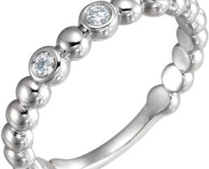 121 10011top - 14k White Gold Diamond Beaded Band