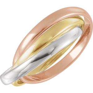 180 10003top - 14k Tri-Color Rolling Rings