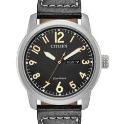 BM8471 01E - Citizen Eco-Drive Military Black Leather Strap Watch 42mm