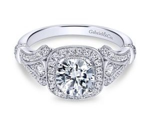 Gabriel4 - Vintage 14k White Gold Round Halo Engagement Ring