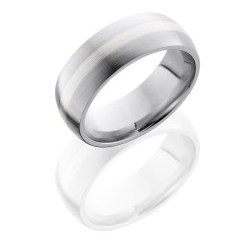 CC8D12 SS SATIN - Cobalt Chrome 8mm Domed Band with 2mm Lapis inlay