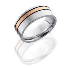 CC8F12OC 14KRMGA - Cobalt Chrome 8mm Flat Band with 2mm Off-Center 14K Rose Gold and Two 1mm Sterling Silver inlays