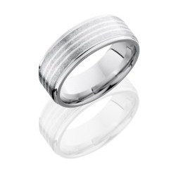 CC8FGE3.5 SS - Cobalt Chrome 8mm Flat Band with Grooved Edges and Three .5mm Sterling Silver inlays