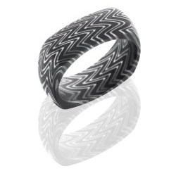 D8DSQZEBRA - Damascus Steel 8mm Domed EuroSquare Band in Zebra Pattern