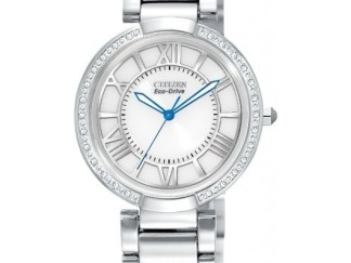 EM0100 55A - Citizen Eco-Drive Ladies D'Orsay Diamond Watch - White/Silver Dial