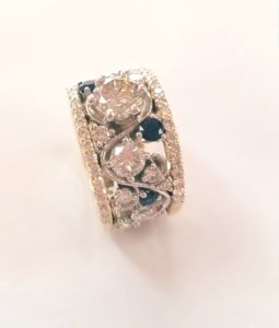 Free-Form Diamond and Sapphire Ring