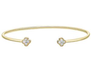 BR10205Y - Diamond Clover Flex-Cuff Bracelet