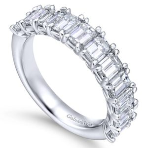 Gabriel 14k White Gold Emerald Cut 11 Stone Diamond Anniversary Band AN12383W43JJ 3 - 14k White Gold Emerald Cut 11 Stone Diamond Anniversary Band