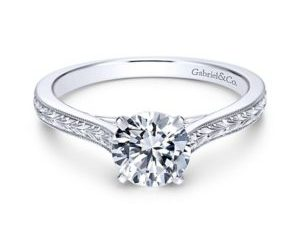 Gabriel Alma 14k White Gold Round Straight Engagement RingER7222W4JJJ 11 - Vintage 14k White Gold Round Straight Engagement Ring