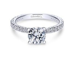 Gabriel Jordan 14k White Gold Round Straight Engagement RingER4126W44JJ 11 - 14k White Gold Round Straight Diamond Engagement Ring