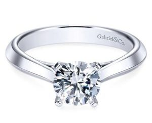 Gabriel Sasha 14k White Gold Round Solitaire Engagement RingER8296W4JJJ 11 1 - Round Solitaire Engagement Ring