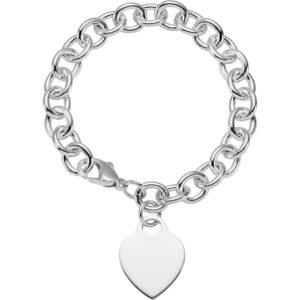 """stsch341 - Sterling Silver Heart Charm 7.5"""" Bracelet"""