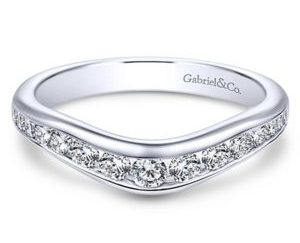 Gabriel 14k White Gold Contemporary Curved Anniversary BandAN10956W44JJ 11 - 14k White Gold Round Curved Diamond Anniversary Band