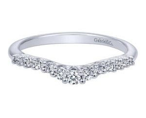Gabriel 14k White Gold Contemporary Curved Anniversary BandAN10975W44JJ 11 1 - 14k White Gold Round Curved Diamond Anniversary Band