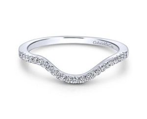 Gabriel 14k White Gold Contemporary Curved Wedding BandWB5330W44JJ 11 - 14k White Gold Round Curved Diamond Wedding Band