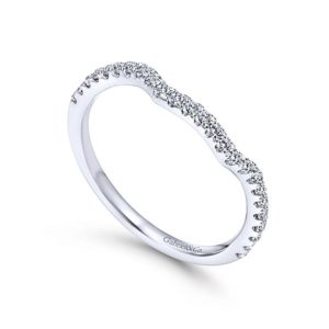 Gabriel 14k White Gold Contemporary Curved Wedding BandWB7544W44JJ 31 - 14k White Gold Curved Diamond Wedding Band