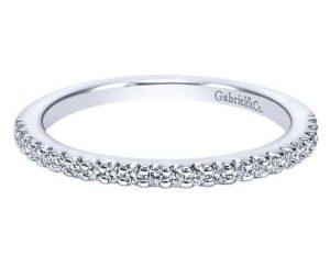 Gabriel 14k White Gold Contemporary Straight Wedding BandWB5832W44JJ 11 - 14k White Gold Round Straight Diamond Wedding Band