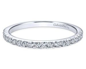 Gabriel 14k White Gold Contemporary Straight Wedding BandWB7480W44JJ 11 - Beaded Stackable Band