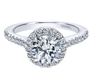 Gabriel 14k White Gold Round Halo Engagement RingER5832W44JJ 11 - 14k White Gold Round Halo Diamond Engagement Ring