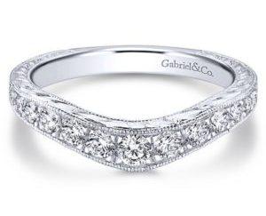 Gabriel 14k White Gold Victorian Curved Anniversary BandAN10961W44JJ 11 - Vintage 14k White Gold Round Curved Diamond Anniversary Band